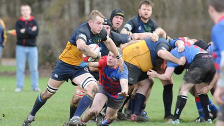 Hackney's Matt Strong heads for the line to score the opening try against Old Streetonians. Pic: Pao