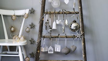 Striped baubles, porcelain white decorations, star garland, and pine cone bauble fairy lights, The W