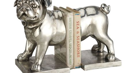 Pug Bookends in silver metal finish, �100, Ospreylondon.com. PA Photo/Handout