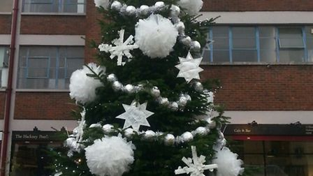 The tree in Hackney Wick decorated by Craig Green.