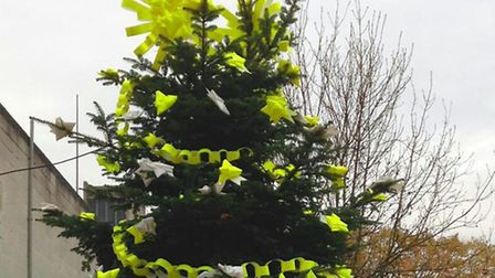 The tree in Stoke Newington decorated by Lou Dalton.
