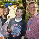 William Ellis School headteacher Sam White with students on GCSE results day in August. Picture: Pol