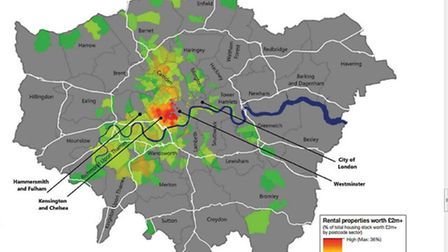 Location of £2 million plus rental properties in London. Source: Knight Frank Residential Research