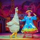 Alix Ross as Princess Priscilla with Mother Goose played by Clive Rowe at the Hackney Empire. Photo