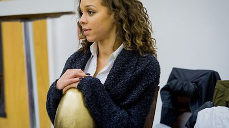 Alix who plays the goose in a rehearsal at the Hackney Empire for Mother Goose. Photo Robert Workman