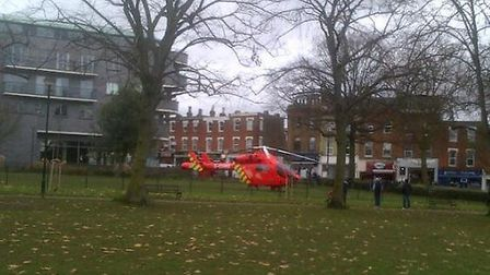 London's Air Ambulance landed in the green space just after 12pm. Picture: Flick Rea