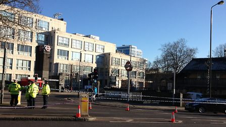 Police have cordoned off a section of the Swiss Cottage Gyratory following the collision