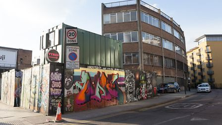 A general view of buildings on Cremer Road on the corner of Hackney Road in Hoxton where a 10 storey