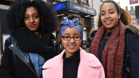 Left to right: Yodit Tesfamariam, 20, Yorsalem Feseha, 18, and Roma Fiseha, 17. Picture: Polly Hanco