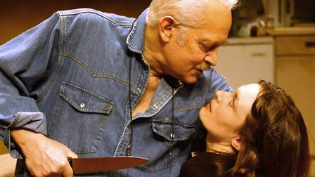 Actors Michael Pennigton (left) and Catherine McCormack during rehearsals for 'When The Night Falls'