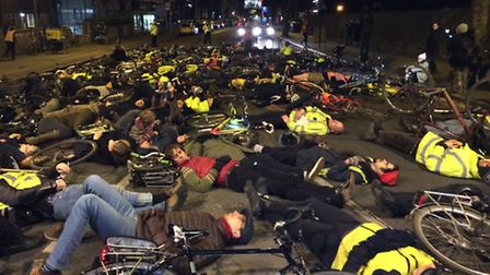 The die-in staged in memory of Stephanie Turner.
