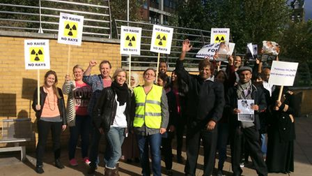 Radiographers at the Whittington Hospital in Archway take to the picket line in industrial action ov