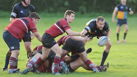 Dave O'Dwyer (centre) scored the decisive winning try against Hackney. Pic: Paolo Minoli