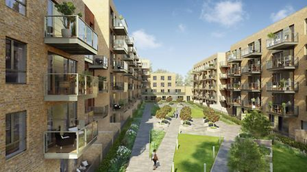 CGI of landscaped courtyard