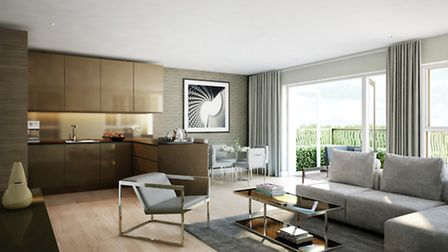 CGI of Living Room and Kitchen