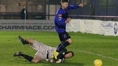 Rob Laney in action for Wingate & Finchley. Pic: Martin Addison