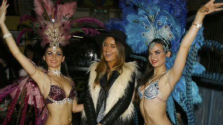 Dancers pose with Made in Chelsea star Fran Newman-Young at The Cuban in Camden Town. Picture: James