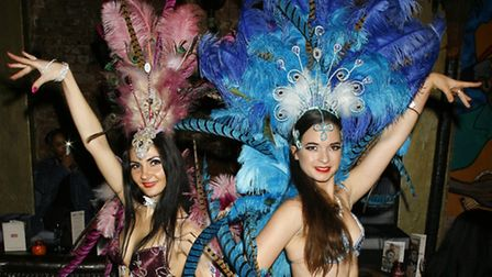 Colourful Cuban dancers livened up the 10th birthday party at the Camden Town bar. Picture: James Cu
