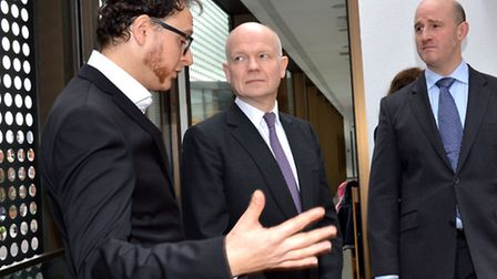 William Hague MP, H&K Conservative parliamentary candidate Simon Marcus with JW3 CEO Raymond Simonso