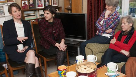 Sarah Sackman and Yvette Cooper talk to residents in Golders Green. Picture: Nigel Sutton.
