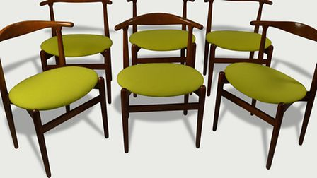 Six dining chairs designed by Hans J. Wegner