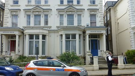 Police outside Spencer House in Belsize Park Gardens following the death of Philip Silverstone last
