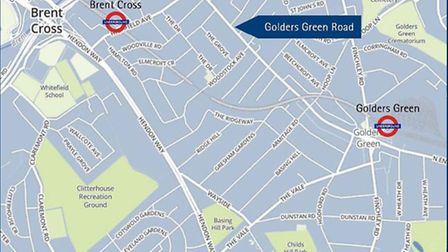 Location of the registered HMO on Golders Green Road, available through Goldschmidt & Howland for £8