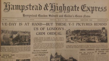 The front page of the Ham&High in 1945 gave a summary of the devastation caused by Germany bombing