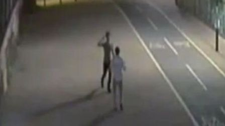 The two men appeared to high-five each other after the incident