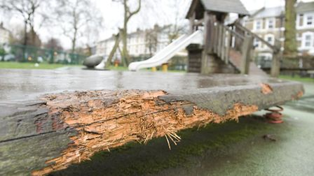 Reports of dogs damaging trees and play equipment in Stoke Newington playground. The council is