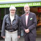 Actor Tom Conti and Andrew Thornton, owner of Budgens in Belsize Park