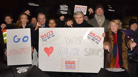Community campaigners protest outside the site of the proposed new Tesco in Belsize this morning. Pi