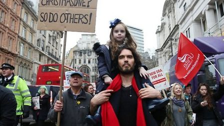 Supporters and tenants of New Era Estate protest rent hikes with Russell Brand