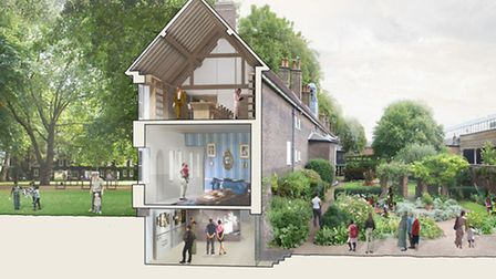 Artist's impression of Geffrye Museum - cross section of main building