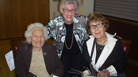Elizabeth Israel (middle) with guests.