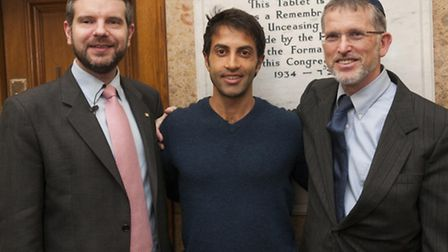 Mosab Hassan Yousef (middle) with interviewer Dr Alan Mendoza and Rabbi Dov Kaplan. Picture: Nigel S