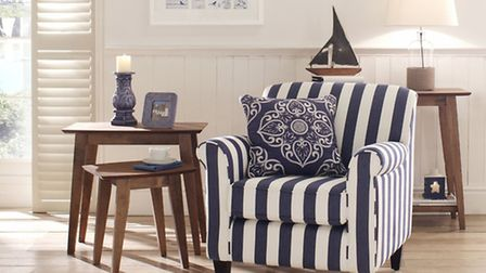 Burford armchair in navy pier stripe; Seville filled cushion; blue candle holder, set of three, Kale
