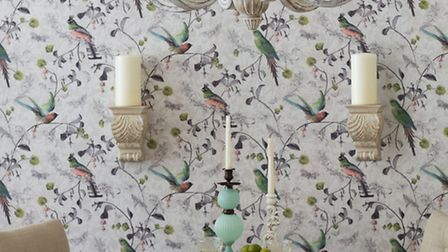 Willow natural wallpaper; Cayman wooden chandelier; Greenwich padded chairs and extending dining tab