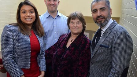 From left: Tulip Siddiq, Cllr Simon Marcus, Dr Rebecca Johnson and Maajid Nawaz. Picture: Polly Hanc