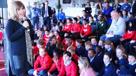 Maggie Philbin talks to Islington school pupils