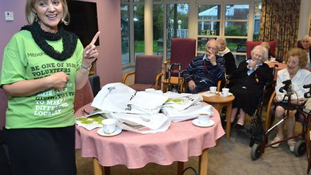 Laura Marks addresses residents at Hammerson House care home for Mitzvah Day 2014. Picture: Polly Ha