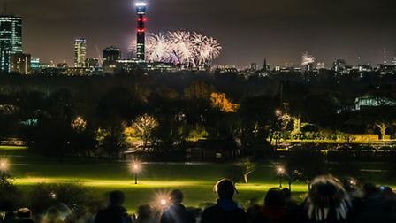 Tens of thousands were said to have travelled to Primrose Hill to watch the fireworks