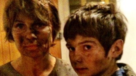 Freya and her son Felix after the accident