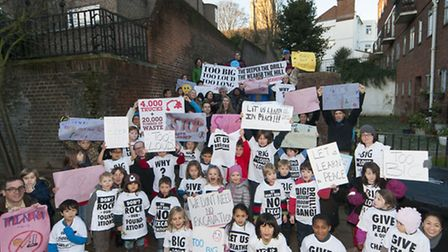 Heathside Preparatory School pupils and parents protest against the redevelopment of New End nurses'