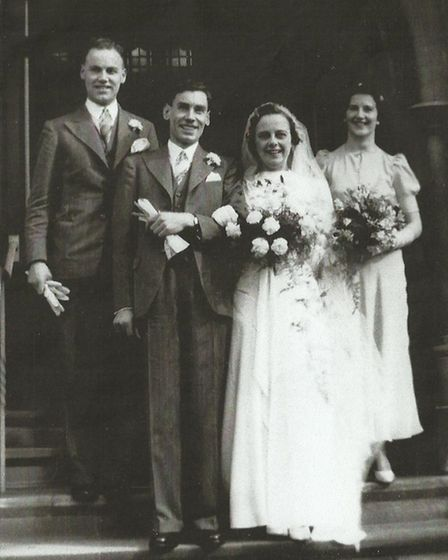 The couple on their wedding day in March 1940