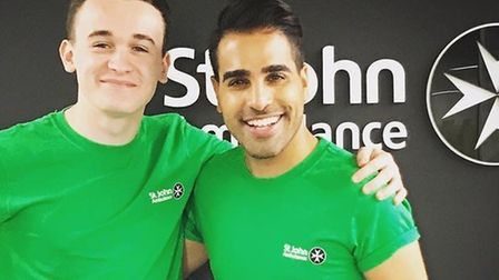Reece Buttery and Dr Ranj. Picture: Courtesy of St John Ambulance