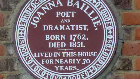 The plaque commemorating poet and dramatist Joanna Baillie at Bolton House in Hampstead. Picture: Ni