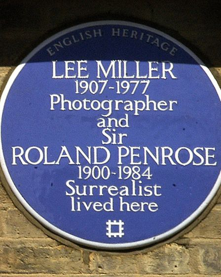 The blue plaque commemorating Sir Roland Algernon Penrose and Lee Miller in Downshire Hill. Picture: