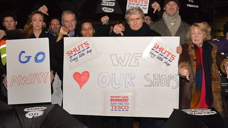 Community campaigners protest outside the site of the proposed new Tesco in Belsize Park in January.