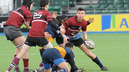 Rory Gibson scored all of UCS's 14 points in the first half, including a fine try. Pic: Paolo Minoli